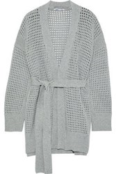 Agnona Belted Open Knit Cashmere Cardigan Gray