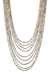 Spring Street Tri Tone Beaded Long Necklace Multi