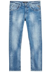 Replay Grover Blue Faded Straight Leg Jeans Light Blue