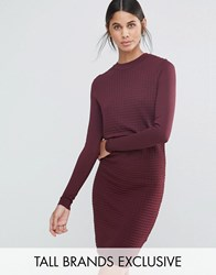 Y.A.S Tall Sage Textured Knitted Pencil Dress Berry