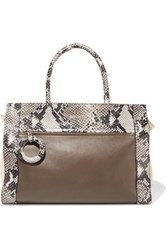 Just Cavalli Snake Effect And Smooth Leather Tote Brown