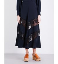 Stella Mccartney Floral Lace Silk Crepe Maxi Skirt Ink