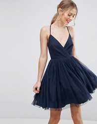Asos Tulle Mini Dress Navy Multi