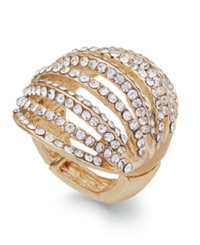 Inc International Concepts Gold Tone Crystal Pave Multi Row Stretch Ring