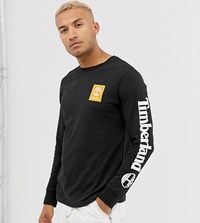 Timberland Exclusive Long Sleeve Arm Logo T Shirt In Black