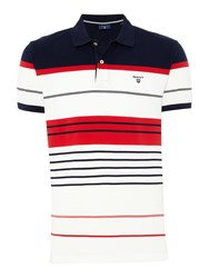 Gant Men's Multi Striped Polo Shirt Red Multi