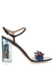 Valentino Camu Butterfly Embellished Plexiglass Sandals