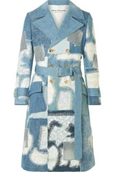 Junya Watanabe Lace Trimmed Double Breasted Patchwork Denim Coat Blue