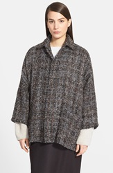 Eskandar Tweed Knit Jacket Grey Mix