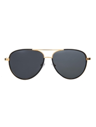 The Row Leather Trimmed Aviator Style Sunglasses