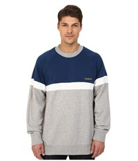 Adidas Itasca Crew Medium Grey Heather Oxford Blue White Men's Sweater
