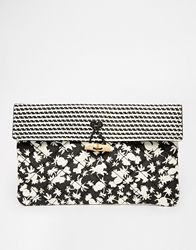 Maison Scotch Quilted Printed Clutch Bag Black