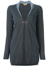 Fay One Button Cardigan Grey