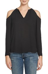1.State Women's Split Neck Cold Shoulder Blouse Rich Black