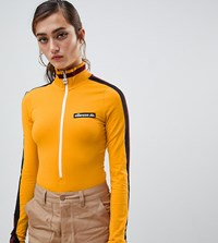 Ellesse High Neck Body With Zip Front And Contrast Stripe Sleeve Yellow