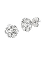Morris And David Diamond 14K White Gold Flower Stud Earrings 2Tcw