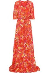 Isolda Woman Ronnie Chiffon Paneled Floral Print Silk Crepe De Chine Gown Papaya