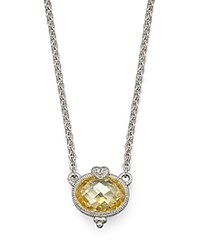 Judith Ripka Oval Stone And Heart Pendant Yellow Silver