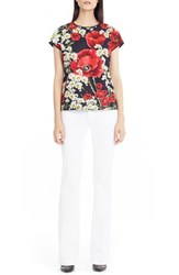 Women's Dolce And Gabbana Poppy And Daisy Print Cotton Poplin Top