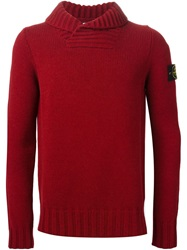 Stone Island Shawl Collar Sweater Red