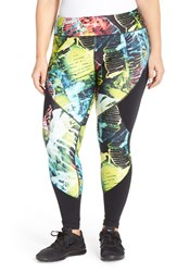 Plus Size Women's Pink Lotus 'Stems' Print Performance Leggings