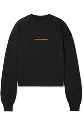 House Of Holland Embroidered Cotton Jersey Sweatshirt Black