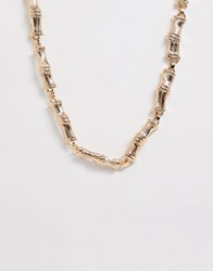 New Look Bamboo Effect Chain Necklace In Gold