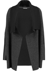 Vince Leather Trimmed Wool Blend Cardigan Gray