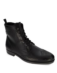 Robert Wayne Jacques Leather Lace Up Ankle Boots Black