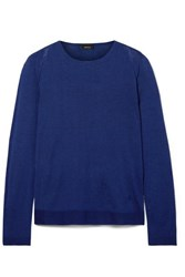 Akris Cashmere And Mulberry Silk Blend Sweater Navy