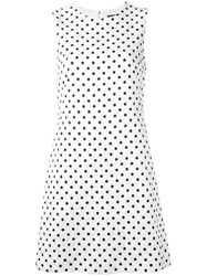 Dolce And Gabbana Brocade Polka Dot Dress White