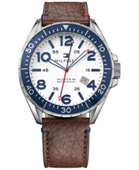 Tommy Hilfiger Men's Brown Leather Strap Watch 46Mm 1791132