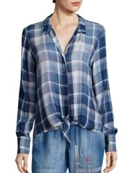 Bella Dahl Tie Front Plaid Shirt Bastille Wash