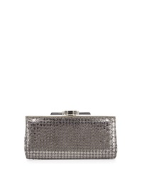 Judith Leiber Couture Monica Houndstooth Stamped Python Evening Clutch Bag Anthracite