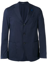 Lardini Flower Blazer Men Spandex Elastane Wool 48 Blue
