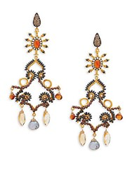 Azaara 22K Dipped Yellow Gold And Multi Gemstone Drop Earrings