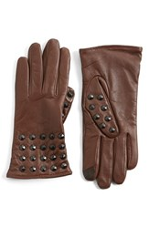 Women's Echo 'Touch Studded' Leather Glove Dark Brown