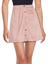 Kensie Snap Button Front Solid Skirt Pale Pink