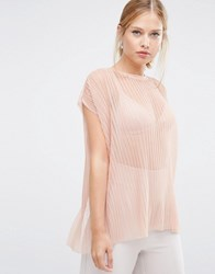 Asos T Shirt In Pleated Mesh Nude Pink