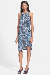 Halston Feather Print Tiered Hem Dress Blue