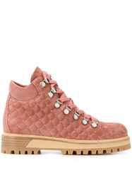 Le Silla Quilted Hiking Style Ankle Boots Pink