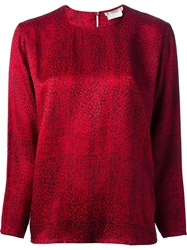 Yves Saint Laurent Vintage Graphic Pattern Blouse Red
