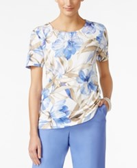 Alfred Dunner Petite Embellished Floral Print T Shirt Periwinkle