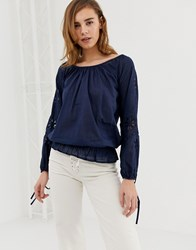 Pepe Jeans Jasmine Off Shoulder Blouse Navy