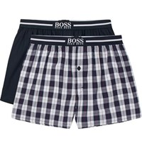Hugo Boss Two Pack Cotton Boxer Shorts Navy