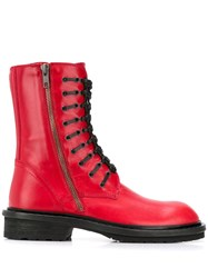 Ann Demeulemeester Tucson Woven Laces Boots Red