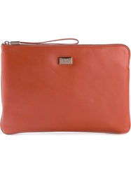 Tod's Rectangular Zipped Clutch Yellow And Orange
