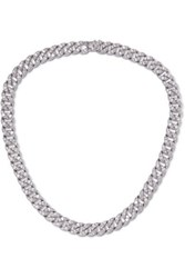 Kenneth Jay Lane Silver Tone Crystal Necklace One Size