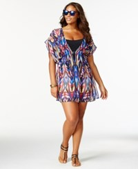 Becca Etc Plus Size Multicolor Smocked Cover Up Women's Swimsuit