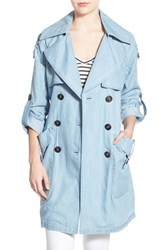 Women's Bcbgeneration Chambray Double Breasted Trench Coat